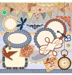Scrap booking set vector