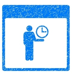 Time manager calendar page grainy texture icon vector