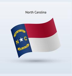 State of north carolina flag waving form vector