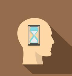 Sandglass inside a man head icon flat style vector