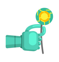 Metal android hand holding electronic flower part vector