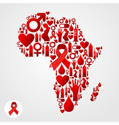 Africa aids map vector