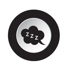 Round black white button - zzz speech bubble icon vector