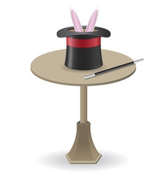 Magic wand and cylinder hat on the table vector