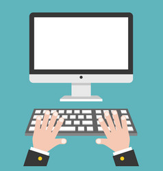 Business hand with blank screen desktop computer vector