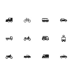 set of 12 editable transportation icons includes vector image