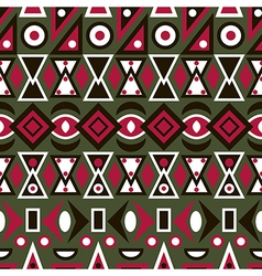 Folk ornamental textile seamless pattern on green vector