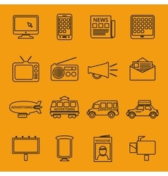 Advertisement and marketing line icons set vector