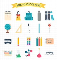 Back to school school and education icons welcome vector