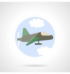 Aeroplane flat round icon vector