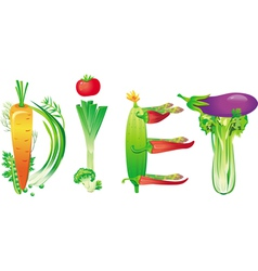 Word diet made of fresh vegetables vector