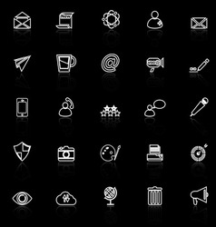 Message and email line icons with reflect on black vector