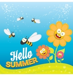 Cartoon summer landscape with honey bees vector