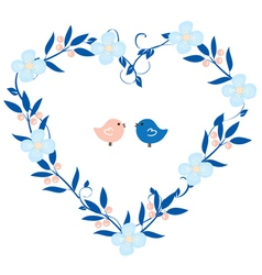 Heart wreath with birds vector