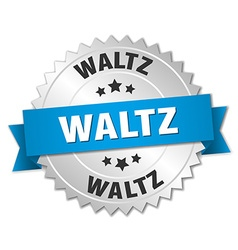 Waltz 3d silver badge with blue ribbon vector