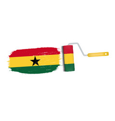 brush stroke with ghana national flag isolated on vector image