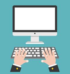 business hand with blank screen desktop computer vector image