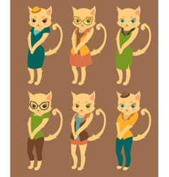 Cartoon set of cute cats in retro style clothes vector image vector image