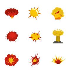 Explosion destruction icons set flat style vector
