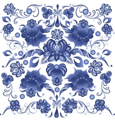 Floral background in gzhel style vector