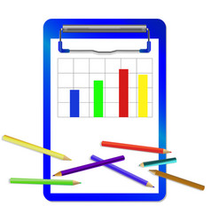 Folder with clip with diagram and colored pencils vector