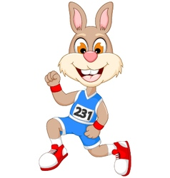 funny cartoon rabbit marathon athletes vector image