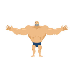 Happy bodybuilder merry sportsman glad athlete vector