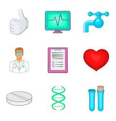Hospital icons set cartoon style vector