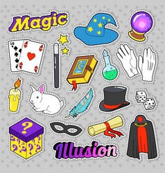 magician elements set with magic wand mask vector image vector image