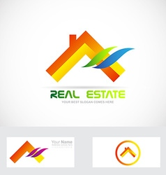 Orange real estate house logo vector