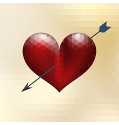 Origami heart design with arrow EPS 10 vector image