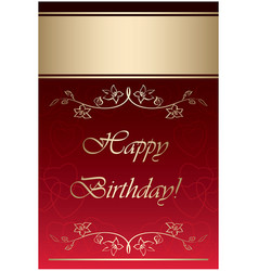 Red and gold card - happy birthday vector