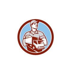 Removal man moving delivery van circle retro vector