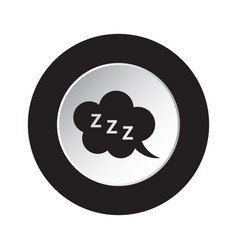 Round black white button - zzz speech bubble icon vector