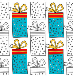Seamless patterns with gift boxes for coloring vector
