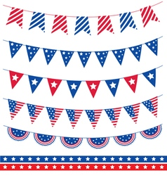 Set of different garland with flag ribbons America vector image vector image