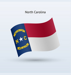 state of north carolina flag waving form vector image vector image