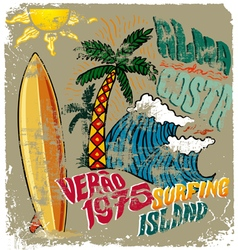 surfing island crack vector image vector image