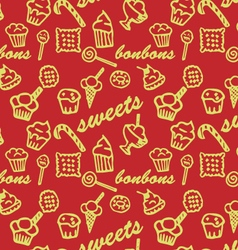 Sweets red pattern vector image