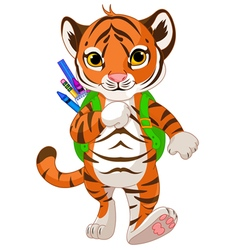 Tiger go to school vector