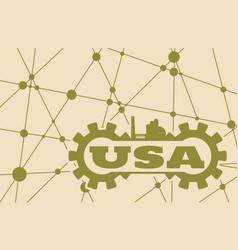 Usa word build in gear vector