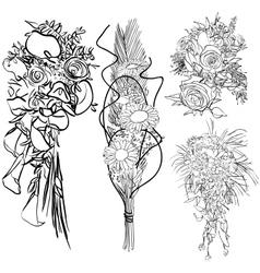 wedding bouquet set vector image vector image