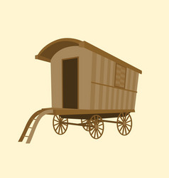 Wooden vintage gypsy caravan wagon vector
