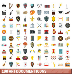 100 art document icons set flat style vector image