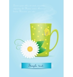 Cup of tea with chamomile flower vector