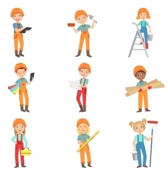 Children doing construction work set vector