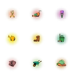 Agriculture icons set pop-art style vector
