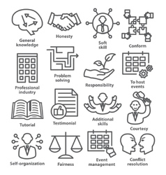 Business management icons in line style pack 22 vector