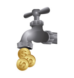 faucet with coins save water vector image