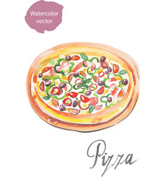 Pizza watercolor vector